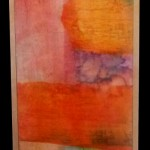 """First Light"" dyed paper/encaustic medium on plywood