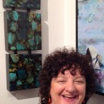 "Mo with her painting, ""Stillness,"" at the Kobalt Gallery, Provincetown, Mass."