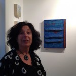 Susan Lasch Krevitt with her work at the Kobalt Gallery